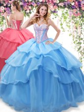 On Sale Baby Blue Sleeveless Beading and Ruffled Layers Floor Length 15 Quinceanera Dress
