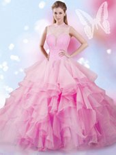Perfect Rose Pink Tulle Lace Up High-neck Sleeveless Floor Length Sweet 16 Dress Beading and Ruffles