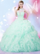 Customized Floor Length Apple Green 15 Quinceanera Dress Organza Sleeveless Beading and Ruffles and Pick Ups