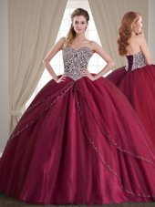 Customized Scoop Sleeveless Tulle Floor Length Lace Up Quinceanera Gowns in Multi-color for with Beading
