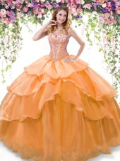 Artistic Orange Lace Up Sweetheart Beading and Ruffled Layers Quinceanera Gown Organza Sleeveless