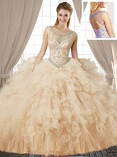 Latest Champagne Ball Gowns Tulle Scoop Sleeveless Beading and Ruffles Floor Length Lace Up Sweet 16 Dress