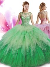 Ball Gowns Quinceanera Gowns Multi-color Scoop Tulle Sleeveless Floor Length Zipper