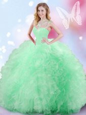 Fine Apple Green High-neck Neckline Beading and Ruffles and Sequins Sweet 16 Dress Sleeveless Zipper