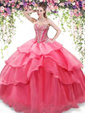 Smart Coral Red Sleeveless Beading and Ruffled Layers Floor Length Sweet 16 Dresses