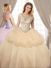 Scoop Champagne Sleeveless Organza and Tulle Lace Up Quinceanera Dresses for Military Ball and Sweet 16 and Quinceanera