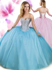Aqua Blue Quinceanera Gowns Military Ball and Sweet 16 and Quinceanera and For with Beading Sweetheart Sleeveless Lace Up