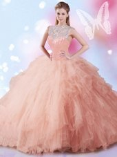 Peach Ball Gowns High-neck Sleeveless Tulle Floor Length Zipper Beading and Ruffles and Sequins Quinceanera Dresses