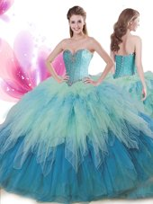 Fancy Multi-color Ball Gowns Beading and Ruffles Quince Ball Gowns Lace Up Tulle Sleeveless Floor Length