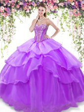 Lavender Sleeveless Floor Length Beading and Ruffled Layers Lace Up Quinceanera Gown