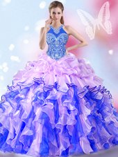Halter Top Multi-color Organza Lace Up Sweet 16 Dress Sleeveless Floor Length Beading and Ruffles and Pick Ups