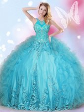 Amazing Halter Top Floor Length Aqua Blue Vestidos de Quinceanera Tulle Sleeveless Beading and Appliques