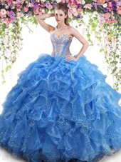 Mermaid Aqua Blue Lace Up Sweet 16 Dresses Beading and Ruffles Sleeveless Floor Length