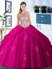Halter Top Sleeveless Quinceanera Dress Floor Length Embroidery and Pick Ups Fuchsia Tulle