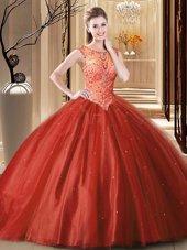 Scoop Sleeveless Brush Train Beading Lace Up 15th Birthday Dress