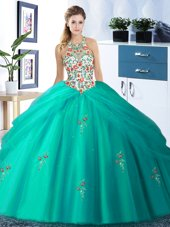 Nice Halter Top Turquoise Ball Gowns Embroidery and Pick Ups Quinceanera Dresses Lace Up Tulle Sleeveless Floor Length