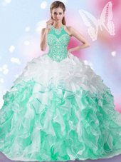 Beautiful Halter Top Sleeveless Organza Sweet 16 Quinceanera Dress Beading and Ruffles and Pick Ups Lace Up