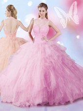 Floor Length Rose Pink Quinceanera Dress Tulle Sleeveless Beading and Ruffles