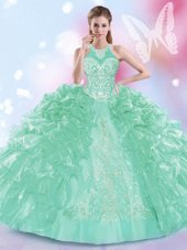 Halter Top Floor Length Ball Gowns Sleeveless Apple Green Quince Ball Gowns Lace Up