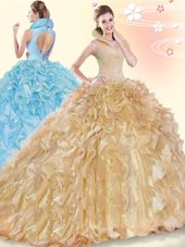 Amazing Ball Gowns Sleeveless Champagne Sweet 16 Dresses Brush Train Backless