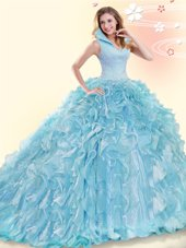 Deluxe Aqua Blue Quinceanera Dresses High-neck Sleeveless Brush Train Backless
