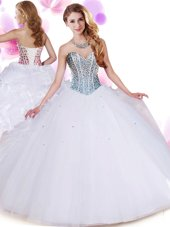 On Sale White Ball Gowns Organza and Tulle Sweetheart Sleeveless Beading and Ruffles Floor Length Lace Up Vestidos de Quinceanera