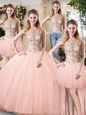 Beautiful Floor Length Peach Quinceanera Gowns Scoop Sleeveless Lace Up
