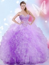 Dazzling Tulle Sweetheart Sleeveless Lace Up Beading and Ruffles Sweet 16 Quinceanera Dress in Lavender