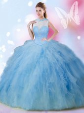 Dramatic Beading and Ruffles Ball Gown Prom Dress Baby Blue Lace Up Sleeveless Floor Length