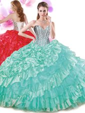 Pick Ups Ruffled Sweetheart Sleeveless Lace Up Quinceanera Dresses Turquoise Organza and Taffeta