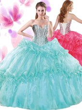 Turquoise Organza Lace Up Quinceanera Gowns Sleeveless Floor Length Beading and Pick Ups