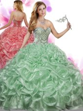 Fitting Green Sweetheart Neckline Beading and Ruffles Quinceanera Gowns Sleeveless Lace Up
