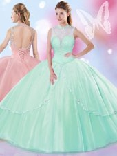 Traditional Peach High-neck Lace Up Beading and Ruffles Vestidos de Quinceanera Sleeveless