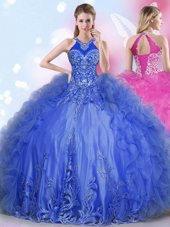 Customized Halter Top Royal Blue Ball Gowns Appliques and Ruffles Quinceanera Dress Lace Up Tulle Sleeveless Floor Length