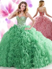 Exquisite Sweetheart Sleeveless Sweet 16 Dress Sweep Train Beading and Ruffles Turquoise Organza and Fabric With Rolling Flowers