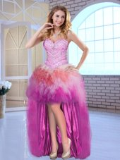 Multi-color Tulle Lace Up Sweetheart Sleeveless High Low Pageant Gowns Beading