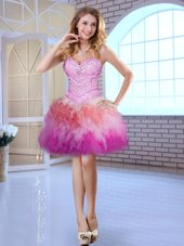 Colorful Multi-color Ball Gowns Tulle Sweetheart Sleeveless Beading Mini Length Lace Up Pageant Dress for Girls