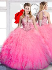Ball Gowns Sweet 16 Dress Hot Pink Halter Top Tulle Sleeveless Floor Length Lace Up