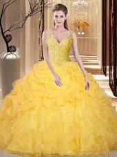 Stylish Gold Backless V-neck Lace and Appliques and Ruffles and Pick Ups Sweet 16 Quinceanera Dress Organza Sleeveless