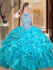 Edgy Scoop Teal Sleeveless Floor Length Embroidery and Ruffles Backless Sweet 16 Dresses
