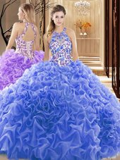 Customized Sleeveless Court Train Backless Embroidery and Ruffles Quinceanera Gown