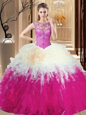 Stylish Multi-color Ball Gown Prom Dress Prom and Military Ball and Sweet 16 and Quinceanera and For with Beading and Ruffles High-neck Sleeveless Backless