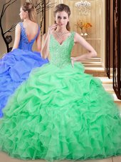 Decent V-neck Sleeveless Organza 15 Quinceanera Dress Lace and Appliques and Pick Ups Backless