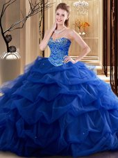 Royal Blue Tulle Lace Up Sweetheart Sleeveless Floor Length Vestidos de Quinceanera Beading