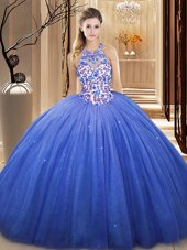 Custom Designed Sleeveless Tulle Floor Length Lace Up Vestidos de Quinceanera in Blue for with Lace and Appliques