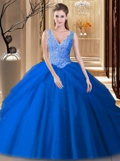 Pick Ups Floor Length Ball Gowns Sleeveless Blue Vestidos de Quinceanera Backless