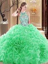 Backless High-neck Embroidery and Ruffles Quince Ball Gowns Organza Sleeveless Brush Train