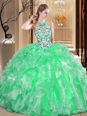Scoop Ball Gowns Embroidery and Ruffles Quinceanera Gown Lace Up Organza Sleeveless Floor Length