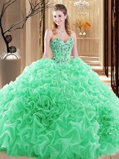 Sweet Sleeveless Embroidery and Ruffles and Pick Ups Lace Up Sweet 16 Dresses