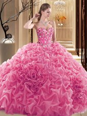 Pick Ups Floor Length Ball Gowns Sleeveless Rose Pink Sweet 16 Quinceanera Dress Lace Up